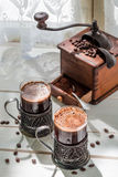 Aromatic ground coffee with beans Royalty Free Stock Image