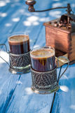 Aromatic ground coffee in garden Stock Image