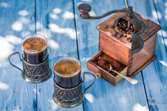Aromatic ground coffee in summer Stock Photos