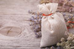 Aromatic herbs in a bag. With copy space stock image