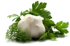 Aromatic herbs and garlic Stock Photo