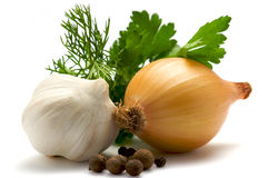Aromatic herbs, onions, garlic and pepper Royalty Free Stock Image
