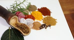 Aromatic herbs spices and condiments. Aromatic herbs from the organic garden and spices for cooking Royalty Free Stock Image