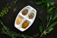 Aromatic herbs and spices over slate sheet Royalty Free Stock Image