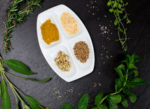 Aromatic herbs and spices over slate sheet Royalty Free Stock Images