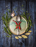 Aromatic Herbs and spices with spoon on platte, dark blue wooden background Royalty Free Stock Photography