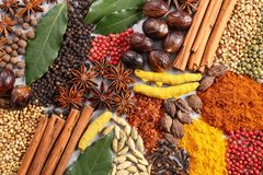 Aromatic Indian spices. Aromatic Indian spices on a gray ceramic background stock images