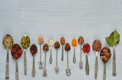Aromatic Indian spices and herbs on metal spoons: star anise, fragrant pepper, cinnamon, nutmeg, bay leaves, paprika, clove. Close up. Spices texture background stock image