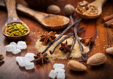 Aromatic ingredients for Christmas baking Royalty Free Stock Images