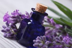Aromatic lavender oil and beautiful flowers on the wooden Stock Images