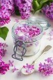 Aromatic lilac sugar on jar Stock Photos