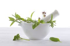 Aromatic and medical plants in a mortar Stock Photos