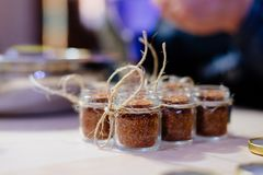 Aromatic mexican spice. In little jars in kitchen royalty free stock image