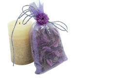 Aromatic mix in a gift package and  candle Royalty Free Stock Photography