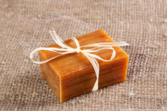 Aromatic natural handmade soap. On the linen cloth Stock Images