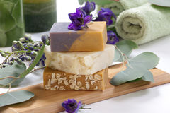 Aromatic Natural Soap. Spa set - assorted aromatic organic handmade soap, fresh Delphinium flowers, and eucalyptus leaf. Best suited for relaxing and health Stock Image