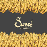 Aromatic oatmeal cookies on a black background Royalty Free Stock Photos