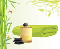 Aromatic oil and bamboo bath towel Royalty Free Stock Image