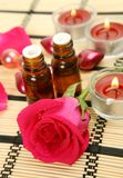 Aromatic oil and candles Royalty Free Stock Photo