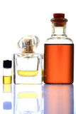 Aromatic oil and perfume bottles Stock Images