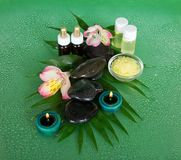 Aromatic oil, salt, candles, stones and flower Stock Image