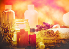 Aromatic oils and essential oil - spa treatment Royalty Free Stock Images
