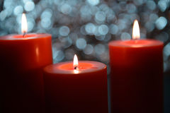 Aromatic orange candle, bokeh background Stock Images