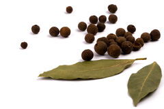 Aromatic pepper and bay leaves Royalty Free Stock Photos