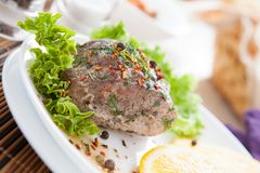 Aromatic piece of meat prepared in the oven Stock Images