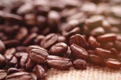 Aromatic roasted coffee background close up stock photo