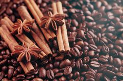 Aromatic roasted coffee beans and anis or badian, sticks of natural cinnamon on background close up royalty free stock photo