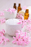 Aromatic salt. Pink flowers of the hyacinth. Royalty Free Stock Photo
