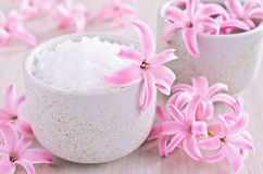 Aromatic salt. Pink flowers of the hyacinth. Royalty Free Stock Image