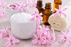 Aromatic salt. Pink flowers of the hyacinth. Stock Photo