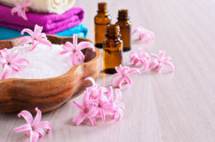 Aromatic salt. Pink flowers of the hyacinth. Stock Image
