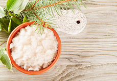 Aromatic salt and pumice stone Stock Photos