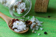 Aromatic salt with spices Royalty Free Stock Photo