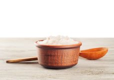 Aromatic salt and wooden spoon Royalty Free Stock Photo
