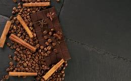Aromatic set of chocolate bar, arabica coffee beans Stock Image
