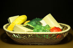 Aromatic soap basket. Aromatic bath soaps placed in a basket of pleasure Royalty Free Stock Photography