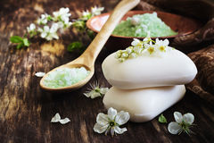 Aromatic soap and salt Royalty Free Stock Photos
