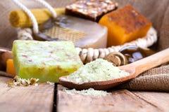 Aromatic spa θέστε με το άλας και το σαπούνι θάλασσας Στοκ Φωτογραφίες