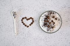 Aromatic spa coffee set with sea salt. Concept I love salt stock image