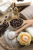 Aromatic spa coffee set with sea salt and soap Stock Image