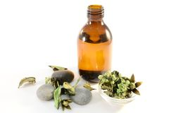 Aromatic spa oil. For massages, green potpourri and stones, isolated on white background. Spa concept Royalty Free Stock Image