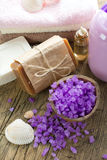 Aromatic spa set with natural sea salt Stock Photography