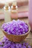 Aromatic spa set with natural sea salt Royalty Free Stock Images