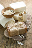 Aromatic spa set with soap and herbs Stock Photos