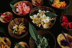 Aromatic spa tropical flowers royalty free stock photo