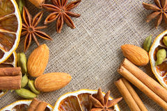 Aromatic spices background Royalty Free Stock Photos